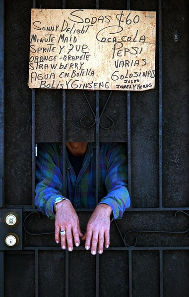 Street merchant: In a heavily crime area of Los Angeles many vendors do business begin security doors