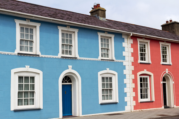 Terraced houses: Terraced houses by a harbour in Pembrokeshire, Wales.