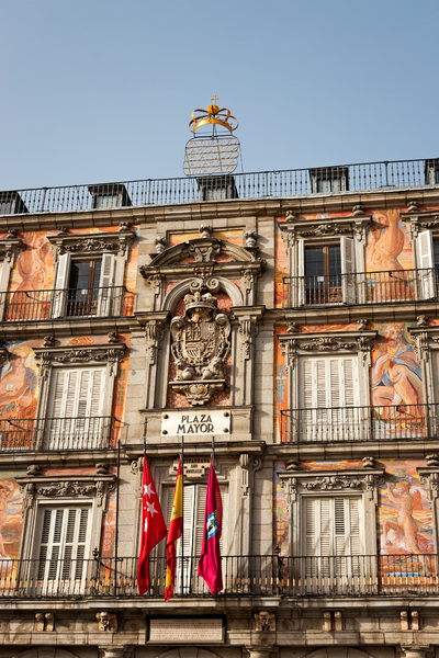 Plaza Mayor - Madrid: Part of Plaza Mayor, Madrid, Spain. Photography of the exterior of this tourist attraction is freely permitted.