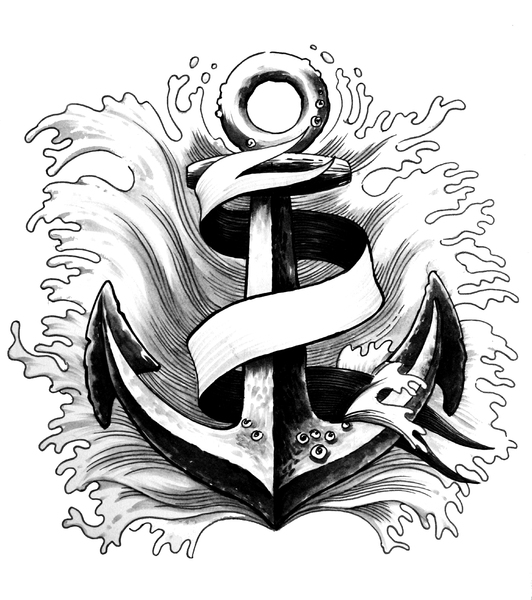 Anchor and banner: Hand drawn illustration of an anchor with banner