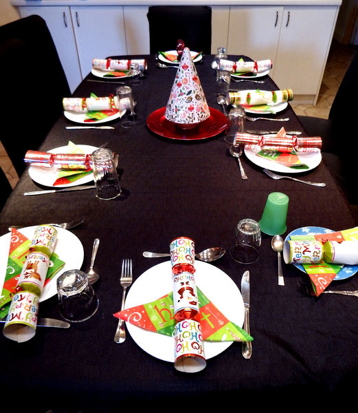 table setting: table prepared and set for Christmas lunch meal