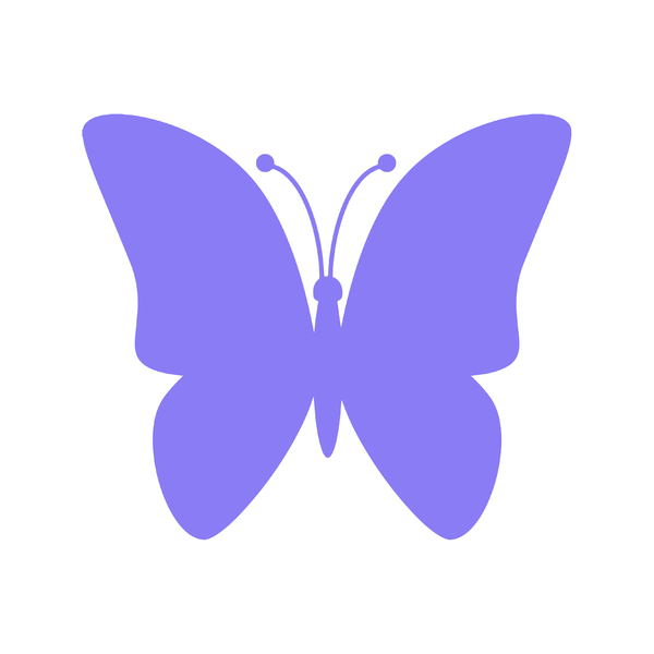Purple Butterfly Icon: Purple butterfly icon on white background