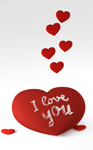 Big red heart 2: Elegant ornate heart with I love you message and little hearts raising