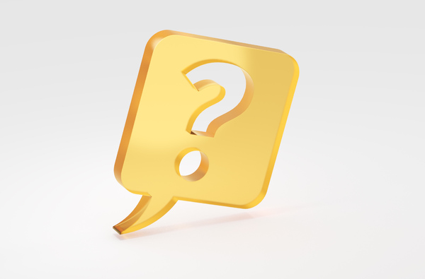 Question mark in speech bubble: Questions and answers concept