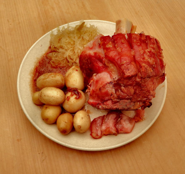pork knuckle dinner4: traditional German style slow cooked pork knuckle dinner