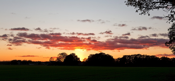 November sunset: A rural sunset in southern England in November.
