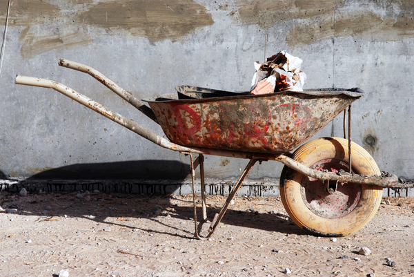 Wheel Barrow: Wheel Barrow that is used mainly in construction sites for carrying construction materials around and to facilitate the builders work.