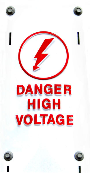 power pole warning1B: metal power pole sign warning of dangerous electricity voltage levels