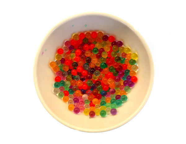 multicolored bubble balls1: bowl of multiple small multicolored gel balls