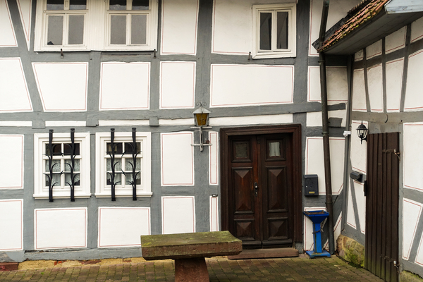 grey half-timbered house: grey half-timbered house