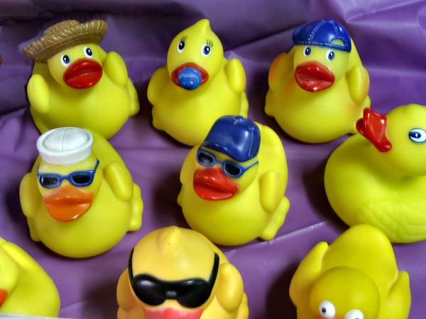 rubber ducky I luv U: variety of novelty yellow rubber duckies