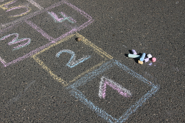 Hopscotch 1: An ancient outdoor game, which is played on the streets and in the schoolyards all over the world. It has a lot of different names, but the rules are quite similar in all coutries.