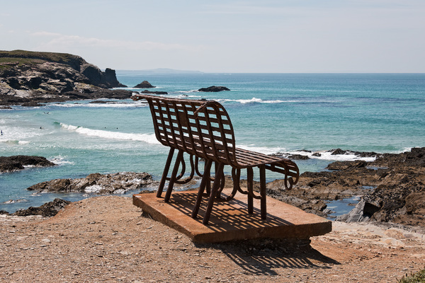 Old rusty bench: An old rusty bench on the coast of Cornwall, England.
