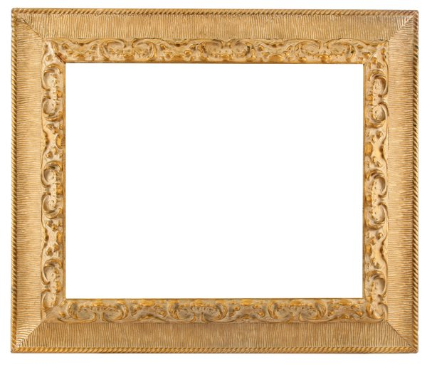 Family Portrait Frame: A wide gold frame suitable for family portraits.