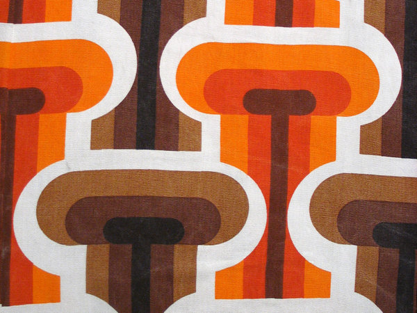 seventies: I found an old curtain at my parents house. It's very trendy again!