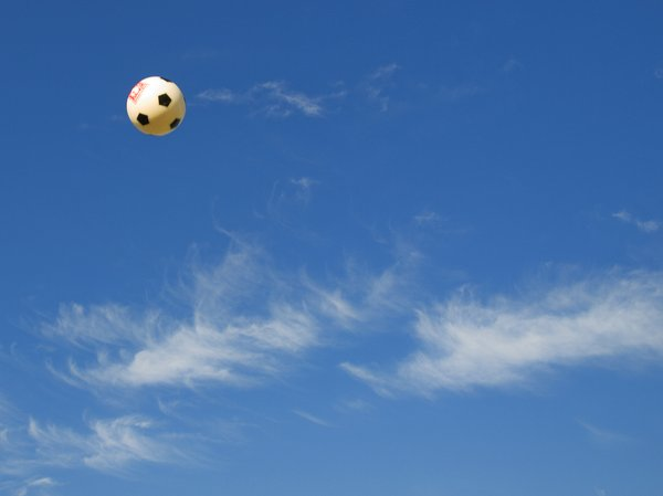 football: football in blue sky
