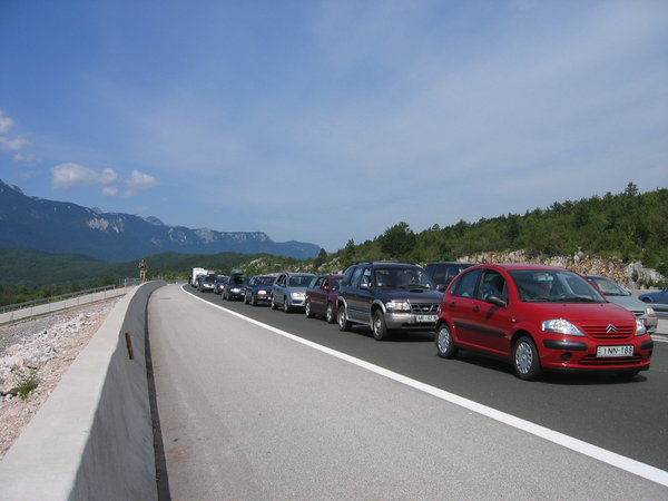 traffic jam: summer conditions on Croatian highway