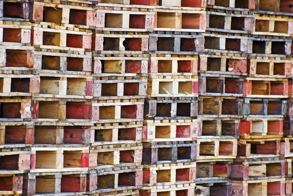 Pallets: Colorful wooden pallets stacked