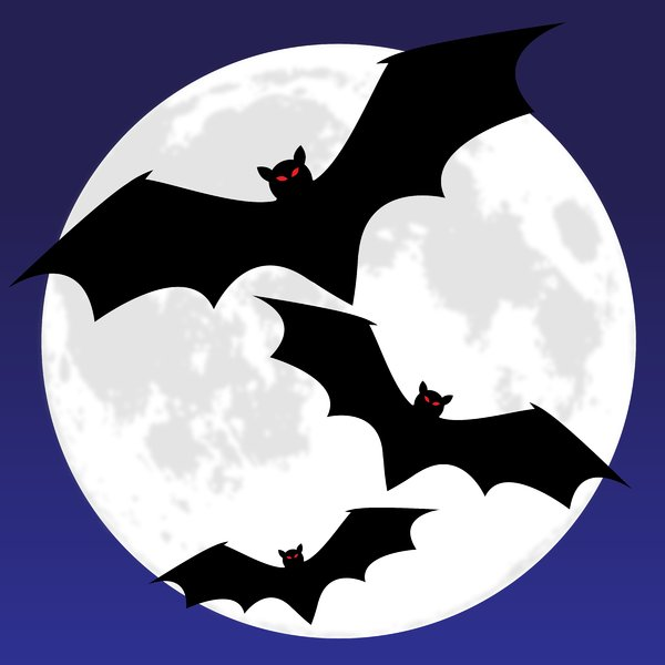 Bat Moon Blue: Bats silhouetted against a full moon in a night sky.