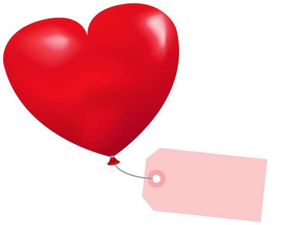 Valentine Token: Read heart shaped balloon with blank label.
