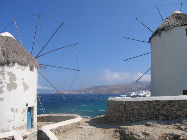 Mykonos windmills: A look between two windmills on Mykonos, Greece.