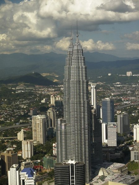 Twin Towers: The Petronas Twin Towers in Kuala Lumpur, Malaysia seen from the television tower.