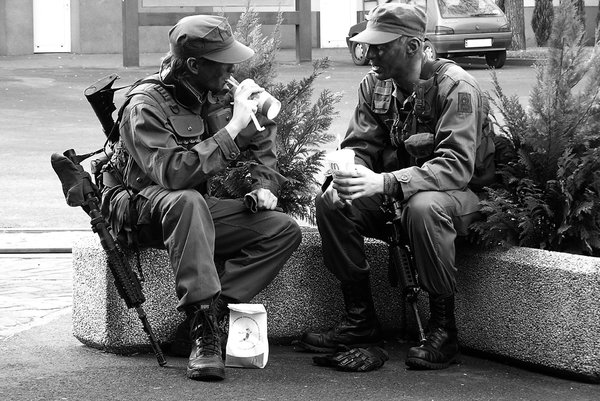 Modern soldiers: Two soldiers eating junk food.Please mail me if you found it useful. Just to let me know!I would be extremely happy to see the final work even if you think it is nothing special! For me it is (and for my portfolio)!