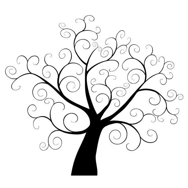 Swirly Tree: Swirly tree silhouette.
