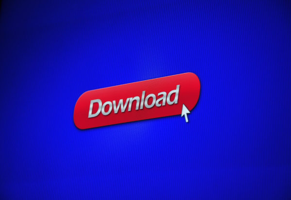 Download button: Shot of a download button being clicked on screen, narrow depth of field.