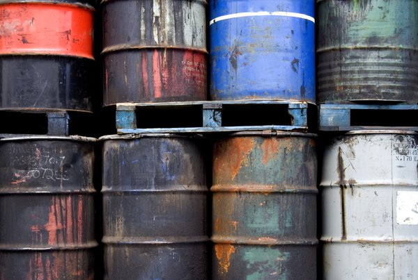 Oil Drums 2: Some battered and leaking oil drums on a trailer.  Pollution theme.