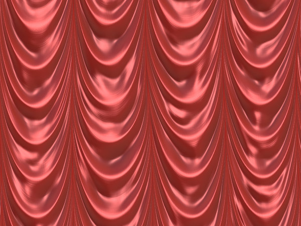 Draped Curtain 1: A Formal Red Curtain Or Drape Made From Shiny Satin. You