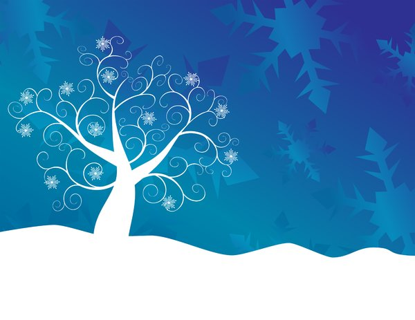 Blue Snowflake Tree: Abstract siwirly snowflake tree and snow against an abstract snowflake gradient background.