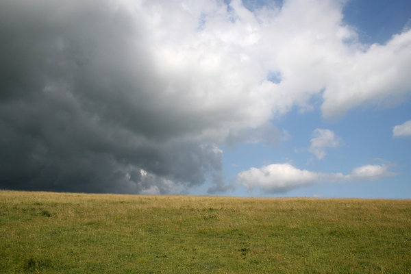 Summer storm 2: An approaching summer storm on the South Downs, West Sussex, England.