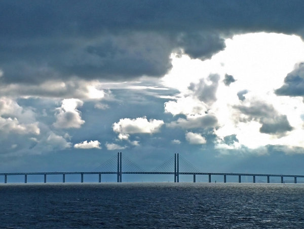 Oresund bridge: The longest bridge in Europe between Denmark (Copenhagen) and Sweden (Malmo). View from ferry
