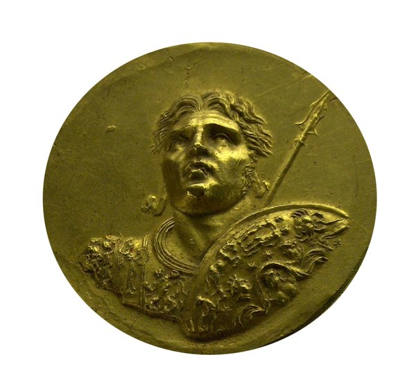 Golden ancient greek coin 2: Greek gold coin with face of Alexander the Great