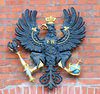 Black eagle with crown, orb an