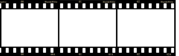 Negative film strip: Three frames of black&white negative film