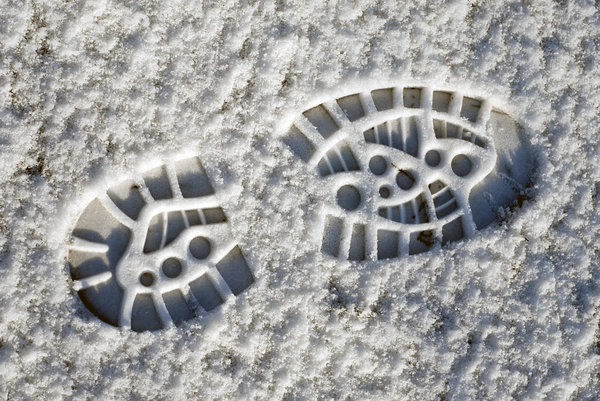 Footstep in the snow: Print of boot on the snow
