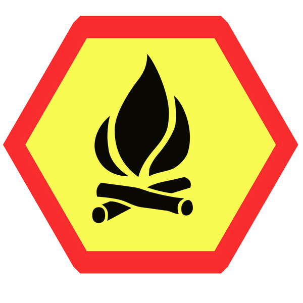 Hexagonal warning sign 2: Fire on the sign