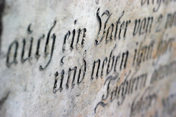 Gothic german script - close-u: Close-up of lettering from old epitaph
