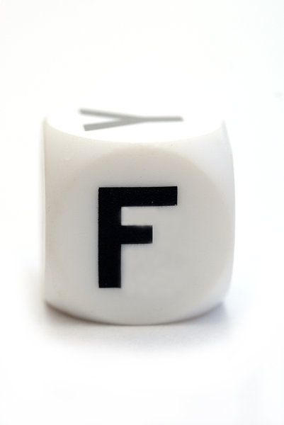 Character F on the cube: Dice with letter