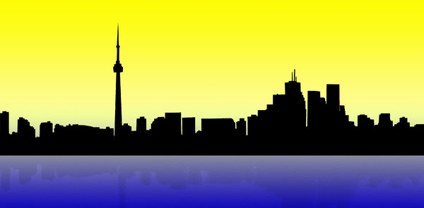 Toronto skyline 1: Canadian city by sundown