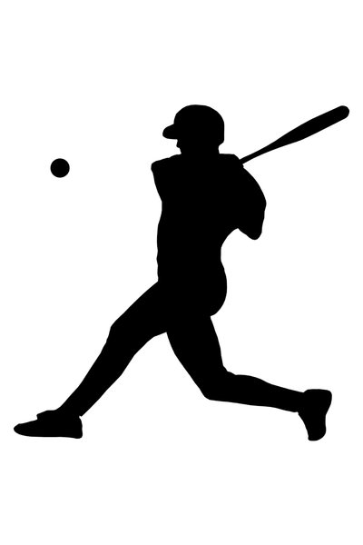 Batter from baseball team 2: Silhouette of baseball player