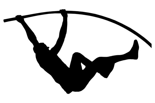 Pole vaulting 2: Silhouette of sportsman