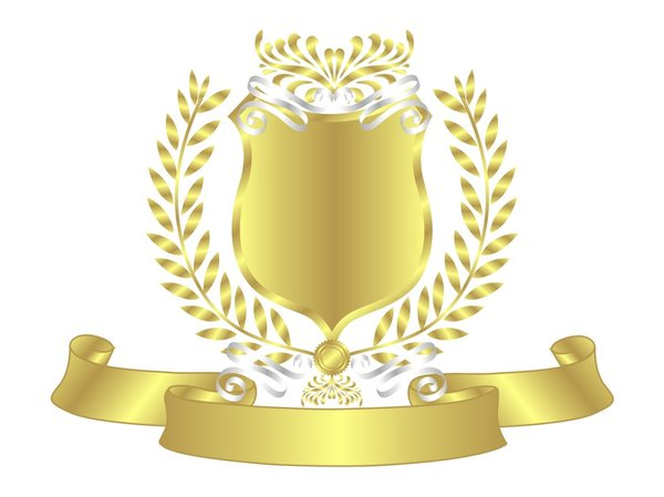 Gold Shield White Ribbon: Blank Gold Shield With White Ribbon