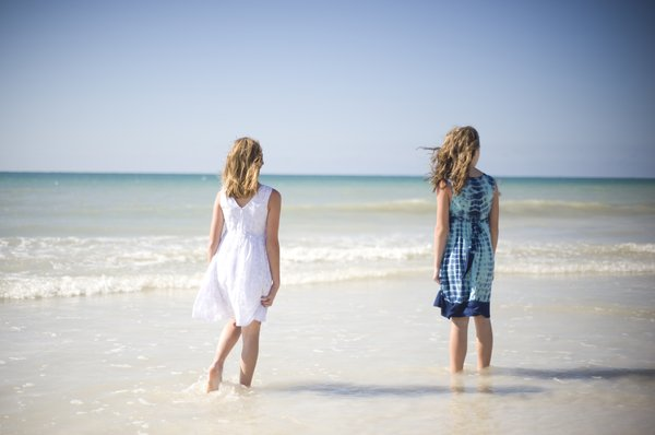 The girls: Two girls on the beach of Jamaica.