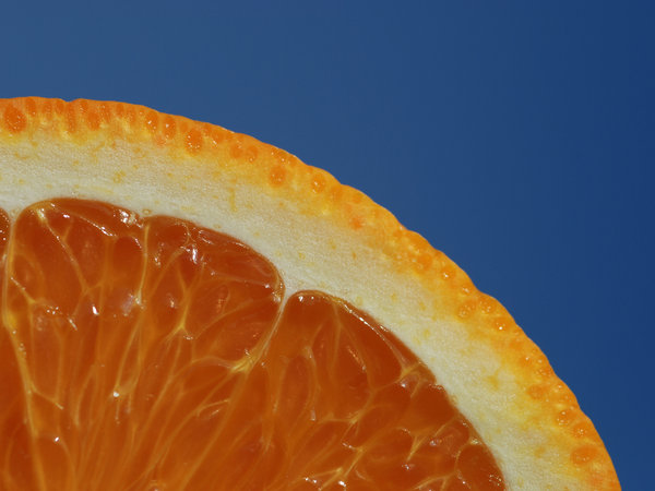 close-up of sliced orange: part of sliced orange