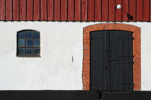 door and window: PLEASE RATE THIS PHOTO!door and window on old farmstead building, Skane, Sweden.