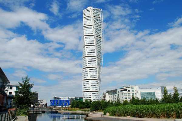 Turning Torso 2: HSB Turning Torso is a skyscraper in Malmö, Sweden, located on the Swedish side of the Öresund strait. It was designed by the Spanish architect Santiago Calatrava and officially opened on 27 August 2005. The tower reaches a height of 190 metres with 54