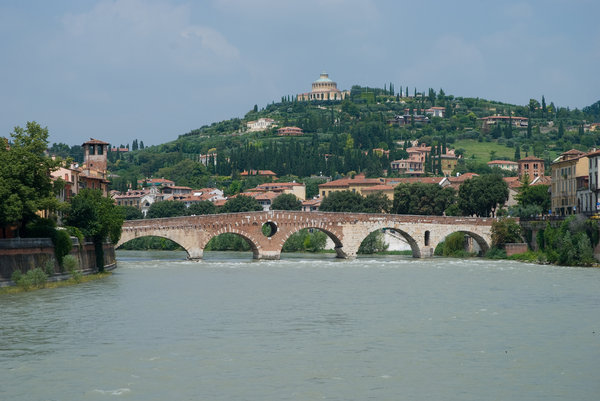 Verona Bridge: PONTE PIETRA , Ancient bridge in Verona, Italy.